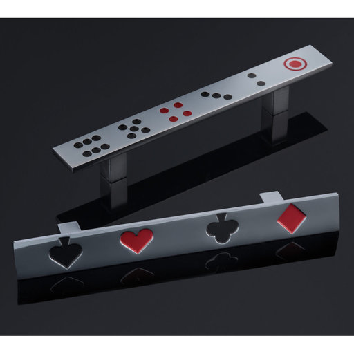 """View a Larger Image of Eclectic Pull, 3-3/4"""" Center-to-Center, Chrome, Dice Pattern"""