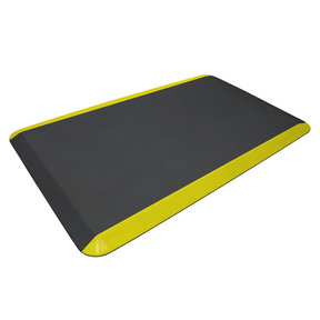 """Eco-Pro Commercial Mat, Black with Yellow Safety Stripe, 20"""" x 32"""""""