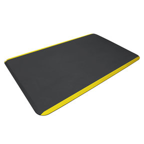 """Eco-Pro Commercial Mat, Black with Yellow Safety Stripe, 36"""" x 60"""""""