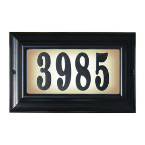 """Edgewood Large """"Do it yourself kit"""" Lighted Address Plaque in Black Frame Color"""