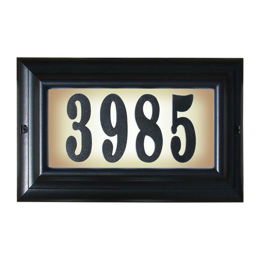 """View a Larger Image of Edgewood Large """"Do it yourself kit"""" Lighted Address Plaque with LED LIGHTS in Black Frame Color"""