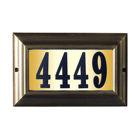 """Edgewood Large """"Do it yourself kit"""" Lighted Address Plaque with LED LIGHTS in French Bronze Frame Color"""