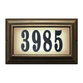 """Edgewood Large """"Do it yourself kit"""" Lighted Address Plaque with LED LIGHTS in Oil Rub Bronze Frame Color"""