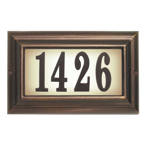 View a Larger Image of Edgewood Large Lighted Address Plaque in Antique Copper Frame Color with LED Bulbs
