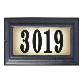 Edgewood Large Lighted Address Plaque in Black Frame Color