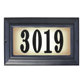 Edgewood Large Lighted Address Plaque in Black Frame Color with LED Bulbs