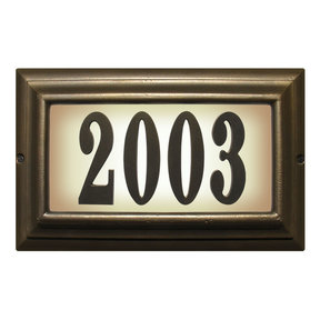 Edgewood Large Lighted Address Plaque in French Bronze Frame Color with LED Bulbs