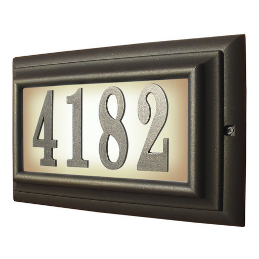 View a Larger Image of Edgewood Large Lighted Address Plaque in Oil Rub Bronze Frame Color