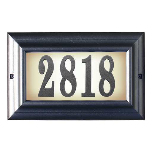 View a Larger Image of Edgewood Large Lighted Address Plaque in Pewter Frame Color