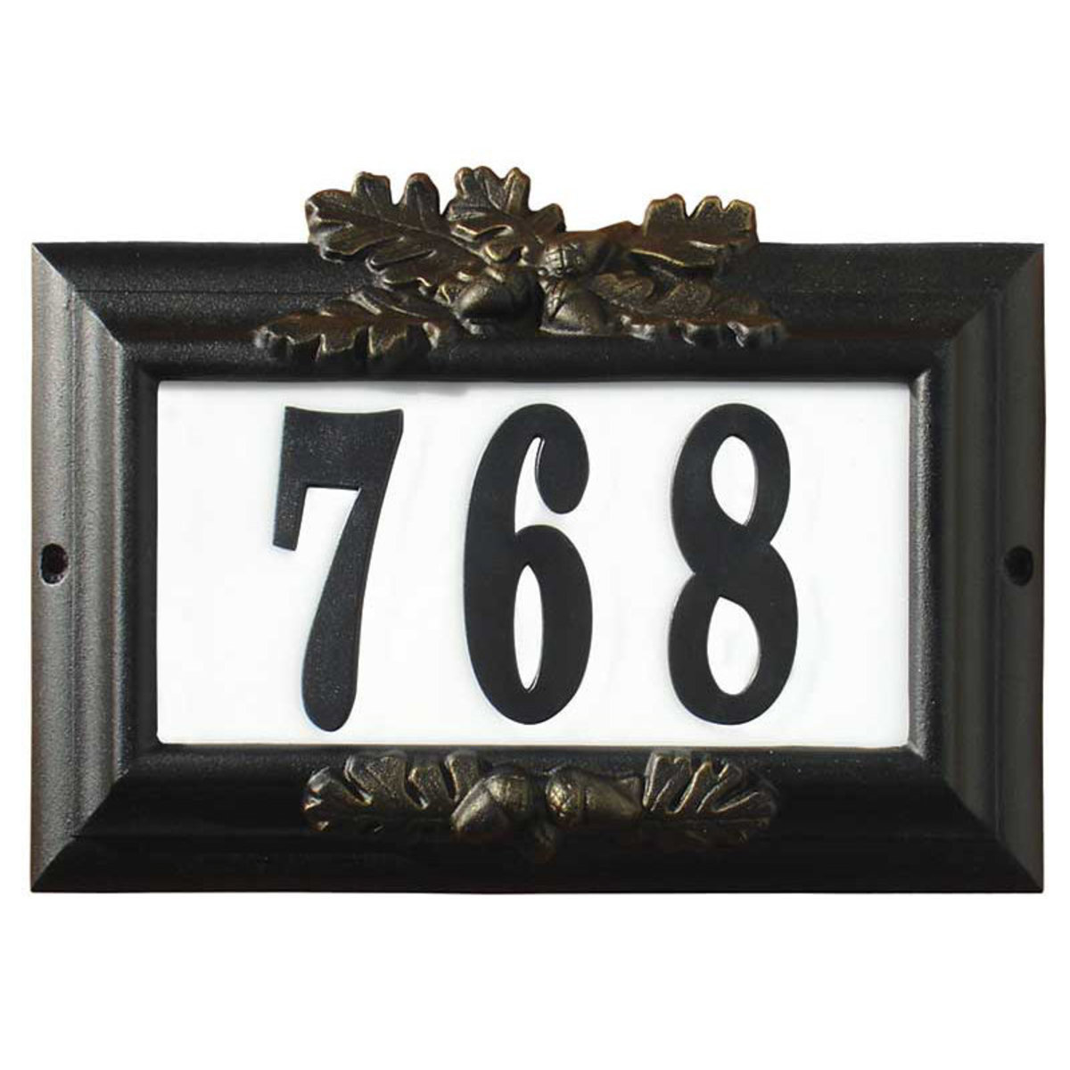 """View a Larger Image of Edgewood """"Misty Oak"""" Lighted Address Plaque in Black with Go"""