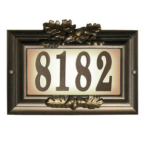 """Edgewood """"Misty Oak"""" Lighted Address Plaque in Bronze with G"""