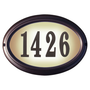 Edgewood Oval Lighted Address Plaque in Antique Copper Frame Color