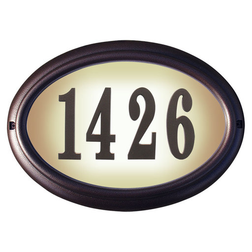 View a Larger Image of Edgewood Oval Lighted Address Plaque in Antique Copper Frame Color