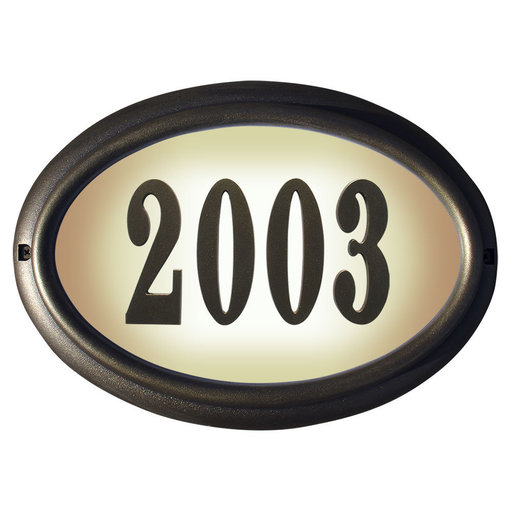 View a Larger Image of Edgewood Oval Lighted Address Plaque in French Bronze Frame Color