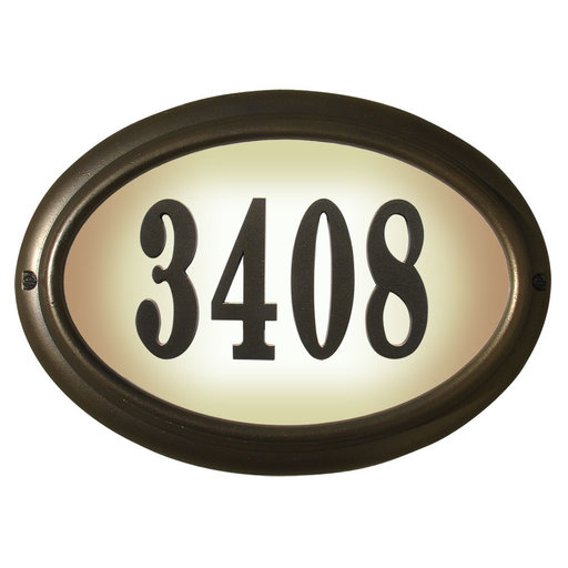 View a Larger Image of Edgewood Oval Lighted Address Plaque in Oil Rub Bronze Frame Color with LED Lights