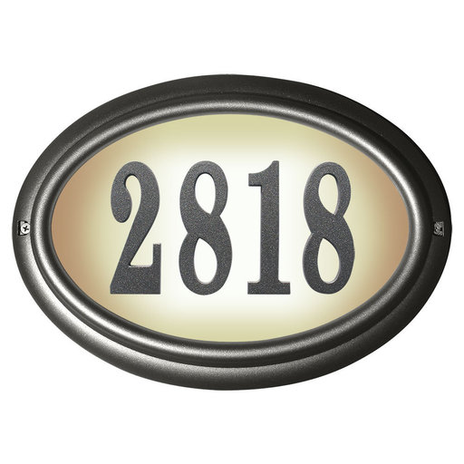 View a Larger Image of Edgewood Oval Lighted Address Plaque in Pewter Frame Color with LED Lights