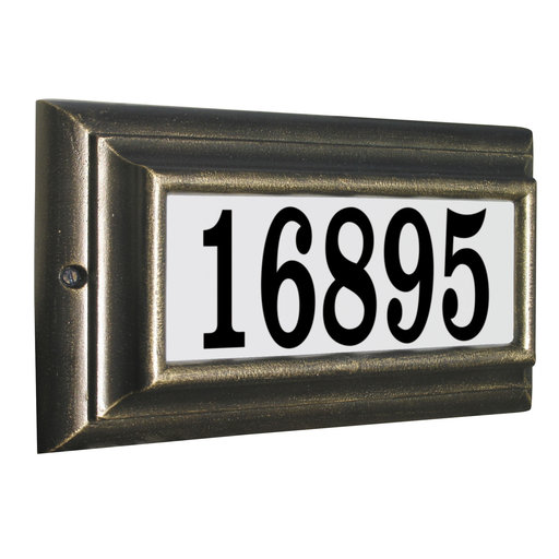 View a Larger Image of Edgewood Standard Lighted Address Plaque in Antique Copper Frame Color with LED Lights