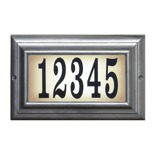 View a Larger Image of Edgewood Standard Lighted Address Plaque in Pewter Frame Color