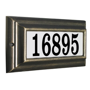 Edgewood Standard Lighted Address Plaque in Pewter Frame Color with LED Lights