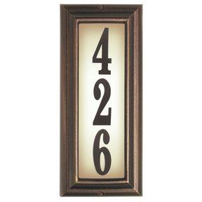 Edgewood Vertical Lighted Address Plaque in Antique Copper Frame Color
