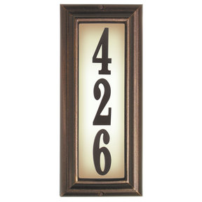Edgewood Vertical Lighted Address Plaque in Antique Copper Frame Color with LED Lights