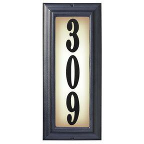 Edgewood Vertical Lighted Address Plaque in Black Frame Color