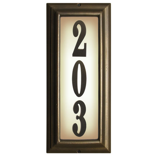 View a Larger Image of Edgewood Vertical Lighted Address Plaque in French Bronze Frame Color