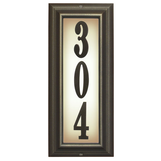View a Larger Image of Edgewood Vertical Lighted Address Plaque in Oil Rub Bronze Frame Color