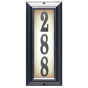 Edgewood Vertical Lighted Address Plaque in Pewter Frame Color