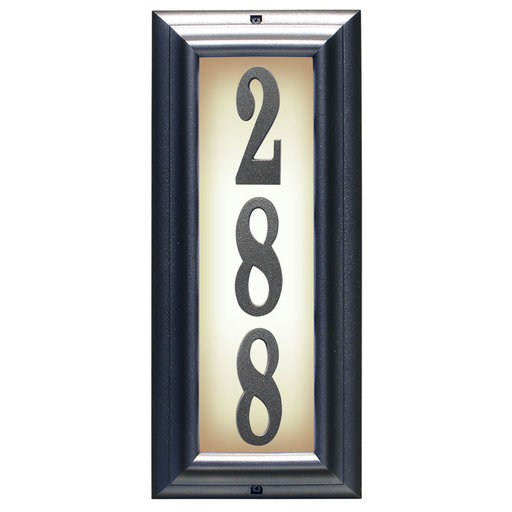 View a Larger Image of Edgewood Vertical Lighted Address Plaque in Pewter Frame Color with LED Lights