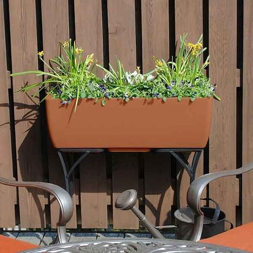 """View a Larger Image of Elevated Urban Planter with Stand, 30"""" x 10"""", Terra Cotta"""
