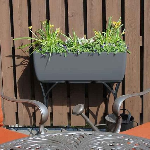 """View a Larger Image of Elevated Urban Planter with Stand, 36"""" x 15"""", Graphite"""