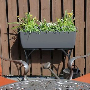 """Elevated Urban Planter with Stand, 36"""" x 15"""", Graphite"""