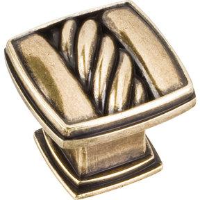 """Encada Rope Knob, 1-3/16"""" O.L.,,  Distressed Antique Brass"""