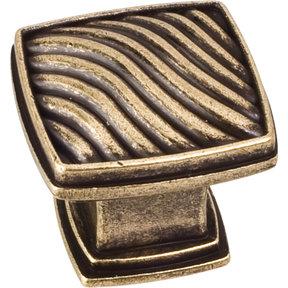 """Encada Wave Knob, 1-3/16"""" O.L.,,  Distressed Antique Brass"""
