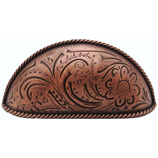 View a Larger Image of Engraved Flower Cup Pull, Copper Oxide