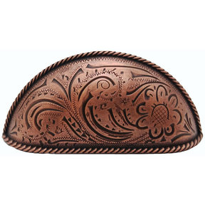 Engraved Flower Cup Pull, Copper Oxide