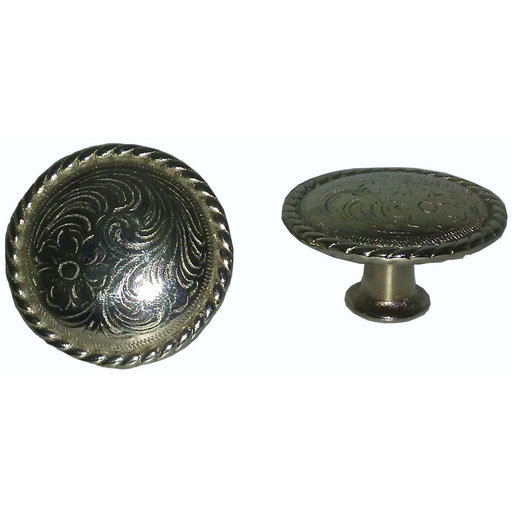 View a Larger Image of Engraved Flower Knob, Nickel