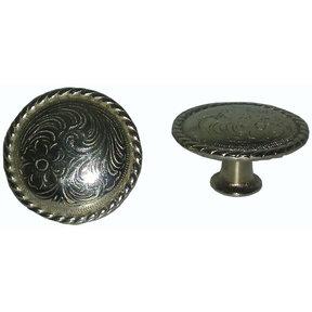 Engraved Flower Knob, Nickel