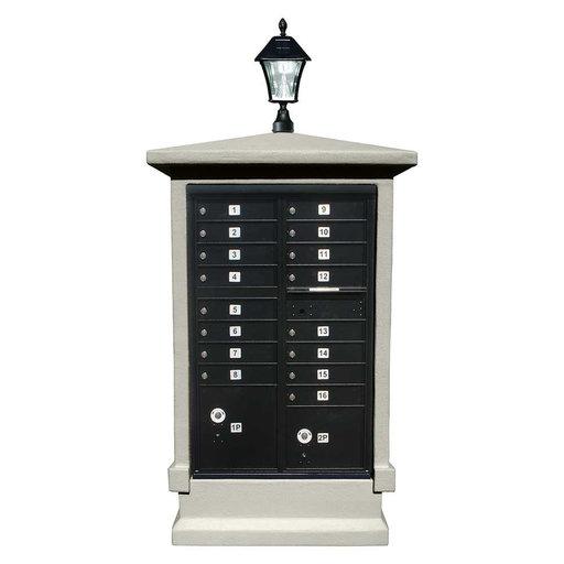 View a Larger Image of Estateview stucco CBU Mailbox Center, SHORT pedestal (column