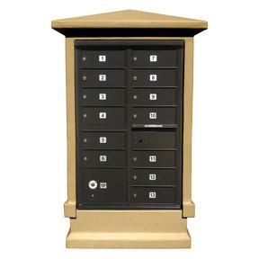 Estateview stucco CBU Mailbox Center, SHORT pedestal (column