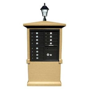 Estateview stucco CBU Mailbox Center, TALL pedestal (column