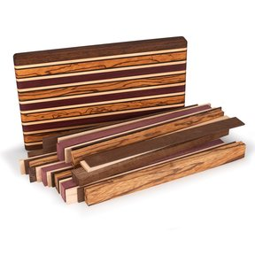 "1-1/2"" x 9-7/8"" x 16"" Brownheart, Maple, Marblewood, Purpleheart & Wenge Exotic Cutting Board Kit"