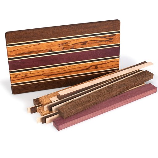 """View a Larger Image of 3/4"""" x 9-1/2"""" x 16"""" Brownheart, Maple, Marblewood, Purpleheart & Wenge Exotic Cutting Board Kit"""