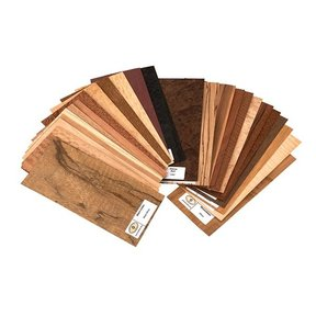"""Wood Identification Kit and Wood Veneer Sample Pack - Exotic Species - 4"""" x 9"""" - 25 Piece"""