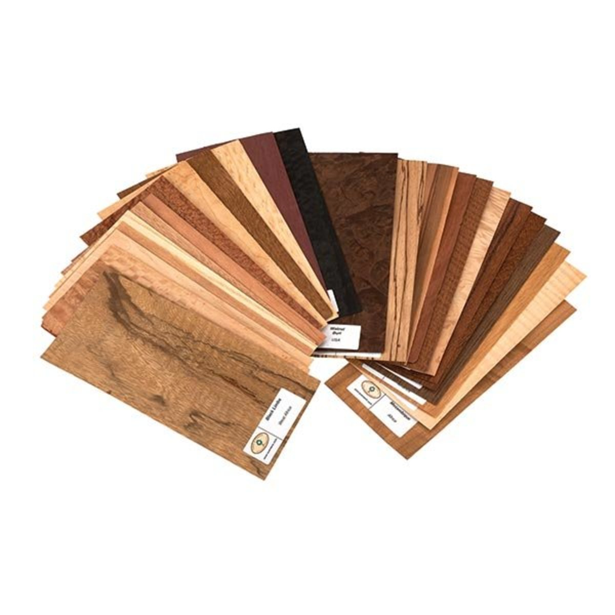 """View a Larger Image of Wood Identification Kit and Wood Veneer Sample Pack - Exotic Species - 4"""" x 9"""" - 25 Piece"""