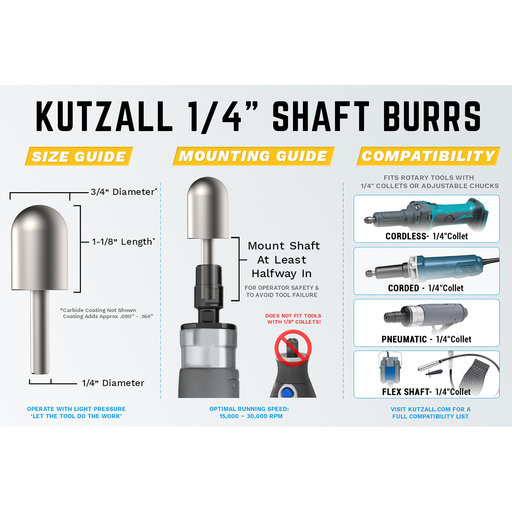 """View a Larger Image of Extreme Ball Nose Burr, 1/4"""" Shaft, Very Coarse (1/4"""" x 1-1/2"""")"""