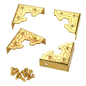 Filigree Box Corners Brass 4pc