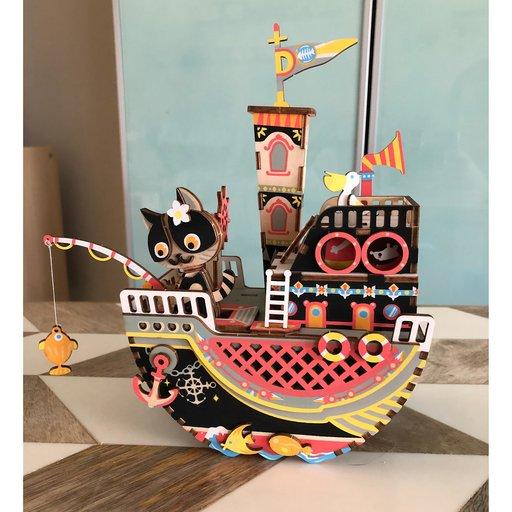 View a Larger Image of Fishing Kitty Music Box Kit