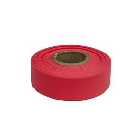"""Flagging Tape Fluorescent Red 150' X 1-3/16"""" Pack of 12"""